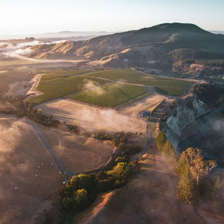 Aerial image of the hawkes bay with some low cloud