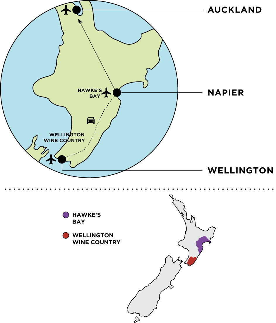 Simple map of Wellington and Hawke's Bay in New Zealand.