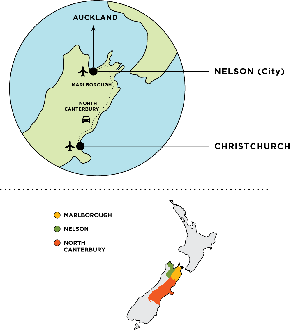 Simple map of Canterbury and Marlborough in New Zealand.