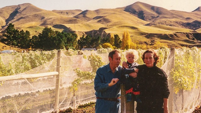 Lindsey, Jack and Vic Hill in a vineyard