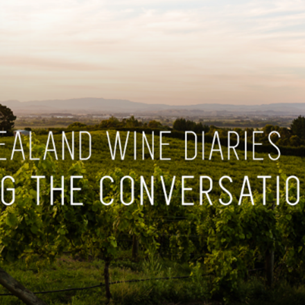 "Vineyard image with the text ""The New Zealand Wine Diaries Mastering the Conversation"""