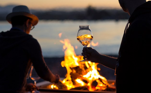 someone holding a wine glass in front of a bonfire