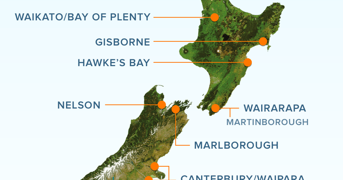 New Zealand Mountains Map.New Zealand Wine Regions New Zealand Wine
