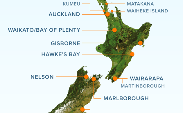 Map of New Zealand identifying its wine regions